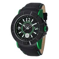 Stuhrling Original Men's Gen-X Swiss Quartz Leather Strap Watch - black