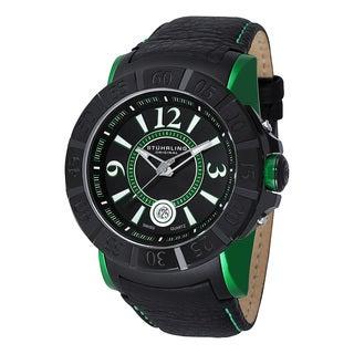 Stuhrling Original Men's Gen-X Swiss Quartz Leather Strap Watch - black
