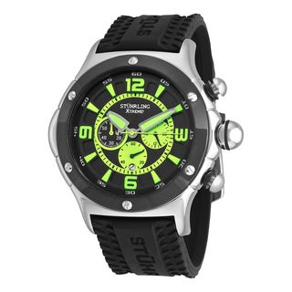 Stuhrling Original Men's Alpine Sport Chronograph Quartz Rubber Strap Watch - black