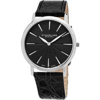 Stuhrling Original Men's Orchestra Swiss Quartz Leather Strap Watch - Black