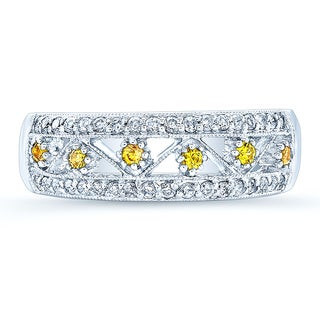 Estie G 14k White Gold Vintage Yellow Sapphire 1/4ct TDW Diamond Fashion Band (H-I, I1-I2) (Size 7)