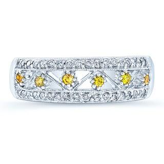 Estie G 14k White Gold Vintage Yellow Sapphire 1/4ct TDW Diamond Fashion Band (H-I, I1-I2) (Size 7)