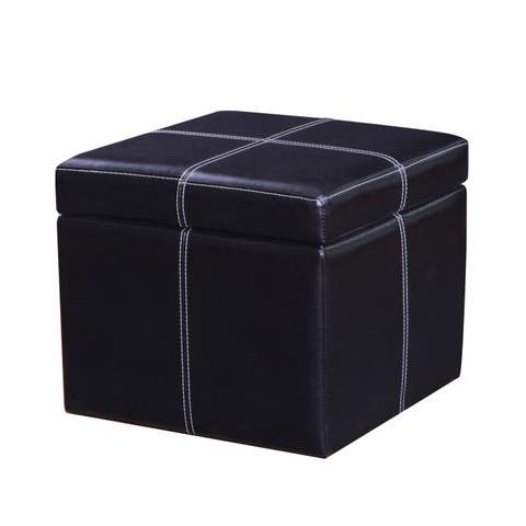 Adeco Bonded Leather Contrast Stitch Square Storage Ottoman Footstool