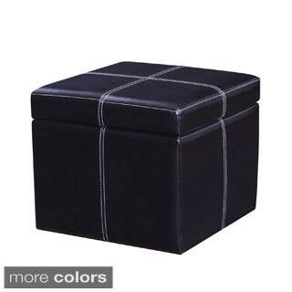 Adeco Bonded Leather Contrast Stitch Square Storage Ottoman Footstool|https://ak1.ostkcdn.com/images/products/10273411/P17389908.jpg?impolicy=medium