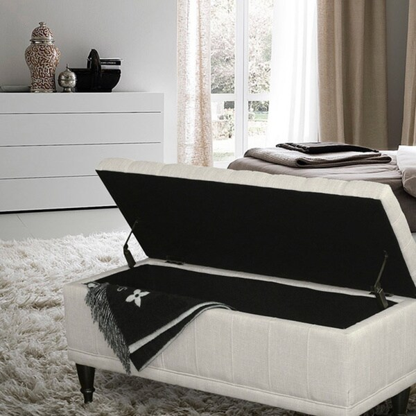 Adeco Rectangular Tufted Storage Ottoman Bench