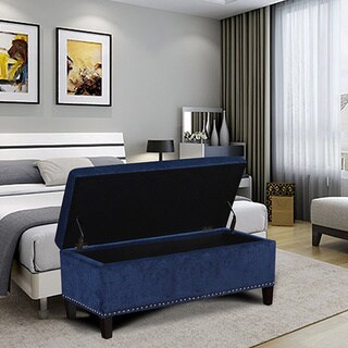 Adeco Lightweight, Tufted, Rectangular, Fabric Lift Top Storage Ottoman Bench