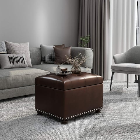 Adeco Tufted Bottom Bonded Leahter Brown Rectangle Storage Ottoman
