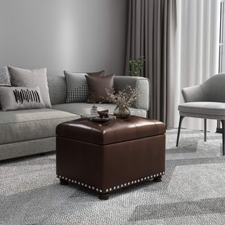 Adeco Tufted Bottom Design Bonded Leahter Dark Brown Rectangle Storage Ottoman|https://ak1.ostkcdn.com/images/products/10273440/P17389911.jpg?impolicy=medium