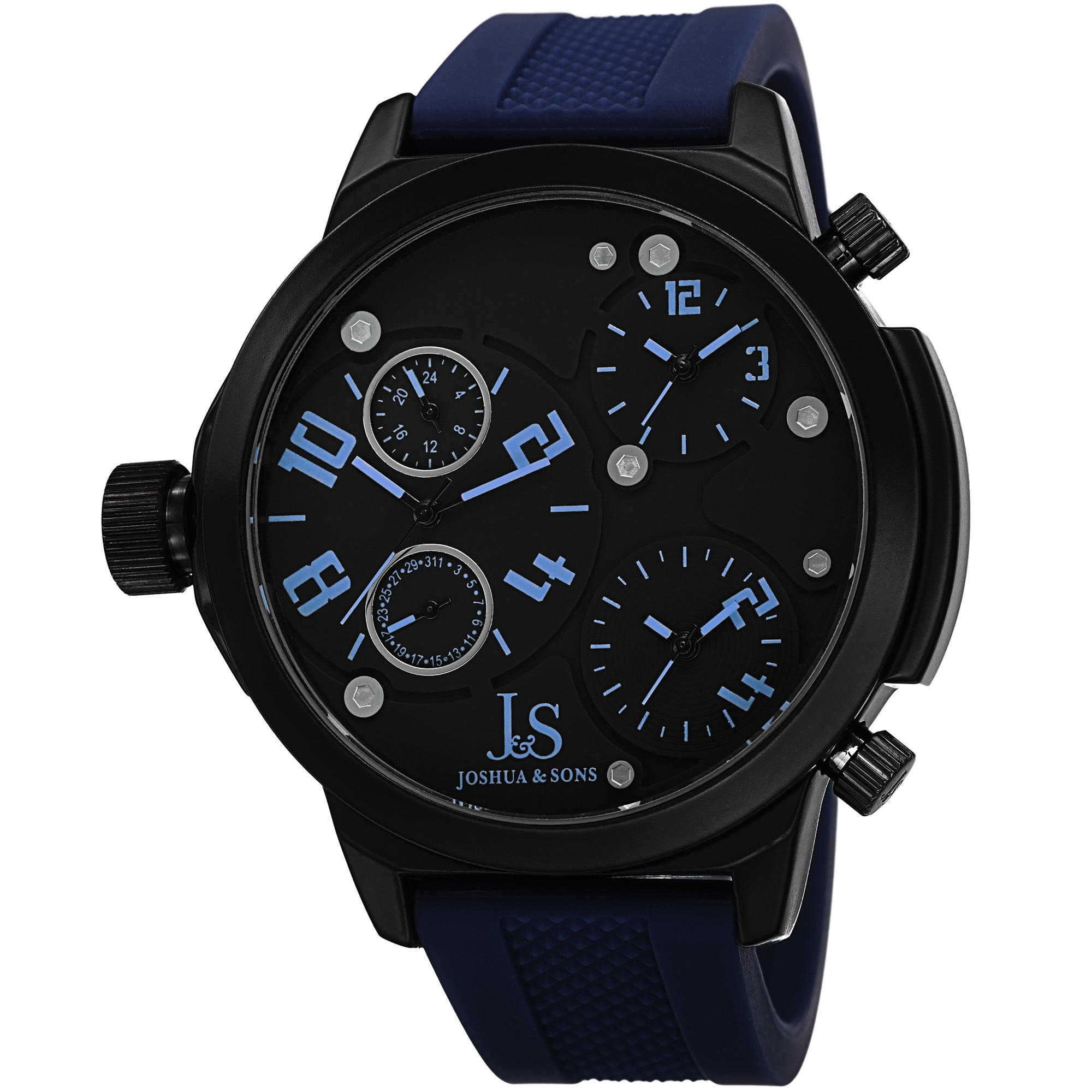 J&S Men's Quartz Triple Time-Zone Rubber Blue Strap Watch...