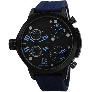 Joshua & Sons Men's Quartz Triple Time-Zone Rubber Blue Strap Watch