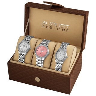 August Steiner Women's Swiss Quartz Diamond Silver-Tone Bracelet Watch Set