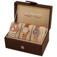 August Steiner Women's Swiss Quartz Diamond Rose-Tone Bracelet Watch Set - Gold