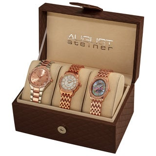 August Steiner Women's Swiss Quartz Diamond Rose-Tone Bracelet Watch Set with FREE GIFT - Gold