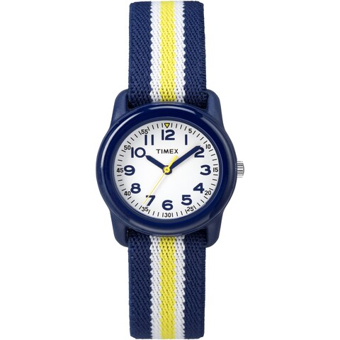 Timex Boys TW7C05800 Time Machines Blue/Yellow Stripes Elastic Fabric Strap Watch