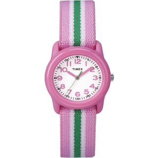 Timex Girls TW7C05900 Time Machines Pink/Green Stripes Elastic Fabric Strap Watch