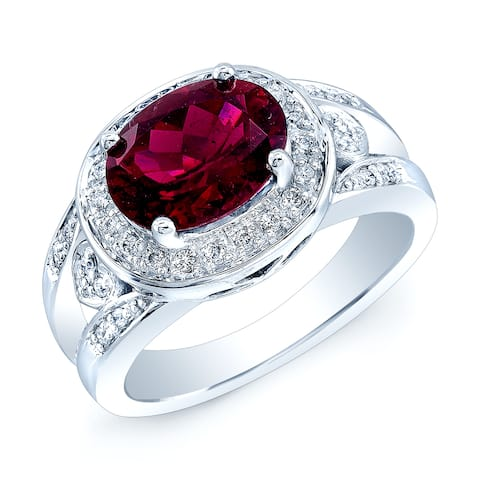 Estie G 14k White Gold Rubellite and 1/5ct TDW Diamond Ring (H-I, I1-I2) (Size 7)