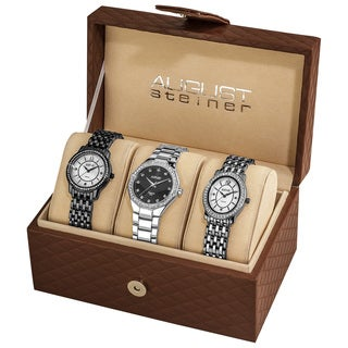August Steiner Women's Swiss Quartz Diamond Black Bracelet Watch Set