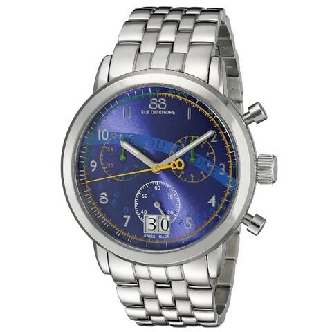 Rue Du Rhone Men's 87WA140033 'Double 8' Chronograph Silver Stainless steel Watch