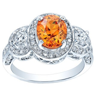 Estie G 14k White Gold Oval Mandarin Garnet and 1 1/5ct TDW Diamond Ring (H-I, VS1-VS2) (Size 7)