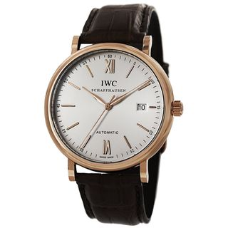 IWC Men's IW356504 'Portofino' Automatic 18kt Rose Gold and Brown Leather Watch