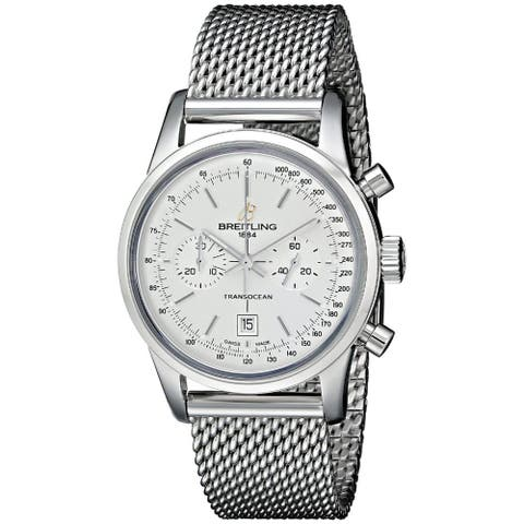 Breitling Men's A4131012-G757SS 'Transocean 38' Automatic Chronograph Silver Stainless steel Watch
