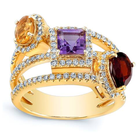 Estie G 14k Yellow Gold Citrine Amethyst Garnet and 1/2ct TDW Diamond Ring (H-I, SI1-SI2) (Size 7)