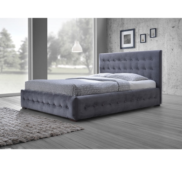 shop baxton studio pittman contemporary grey fabric upholstered platform bed with button tufted. Black Bedroom Furniture Sets. Home Design Ideas
