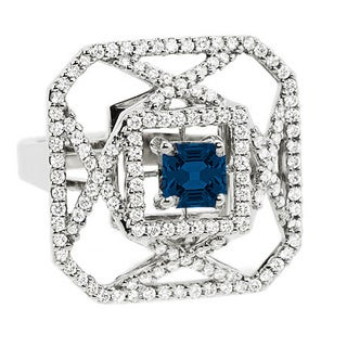 Estie G 18k White Gold Sapphire and 3/4ct TDW Diamond Ring (H-I, VS1-VS2) (Size 7)