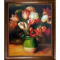 Pierre-Auguste Renoir 'Tulips in a Vase' Hand Painted Framed Canvas Art