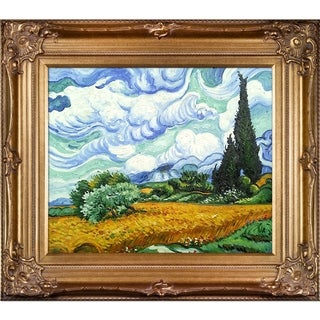 Vincent Van Gogh 'Wheat Field with Cypresses' Hand Painted Framed Canvas Art