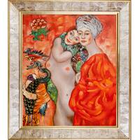 Gustav Klimt 'Girl Friends' Hand Painted Framed Canvas Art