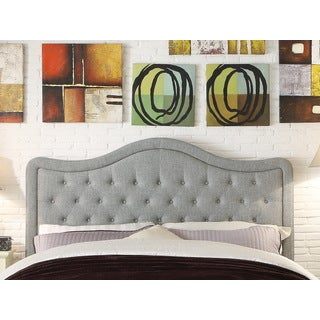 Moser Bay Furniture Adella Queen Size Linen Grey Waved Top Upholstery Headboard