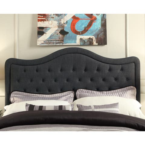 Moser Bay Furniture Adella Queen Size Linen Charcoal Waved Top Upholstery Headboard