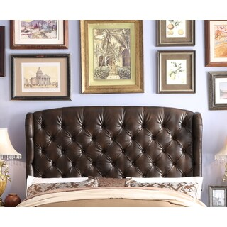 Moser Bay Furniture Feliciti Espresso Queen Size Wingback Upholstery Headboard