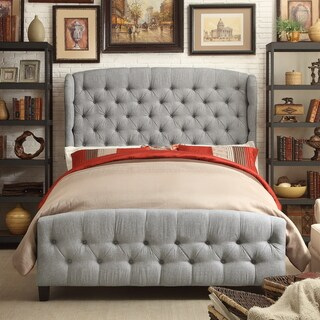 Moser Bay Furniture Feliciti Grey Queen Size Wingback Upholstery Bed