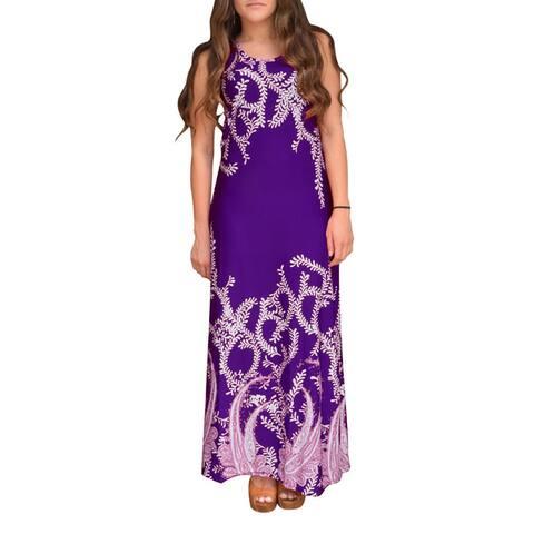 Peach Couture Women's Paisley Sleeveless Maxi Dress