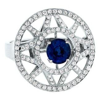 Estie G 18k White Gold Sapphire and 5/8ct TDW Diamond Ring (H-I, VS1-VS2) (Size 7)