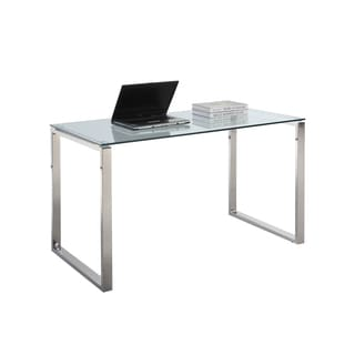 Somette Gloss White Home Office Computer Desk