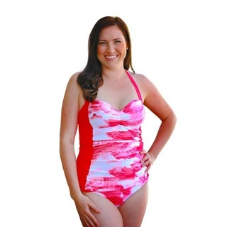 CaCelin Women's Retro Pink One Piece