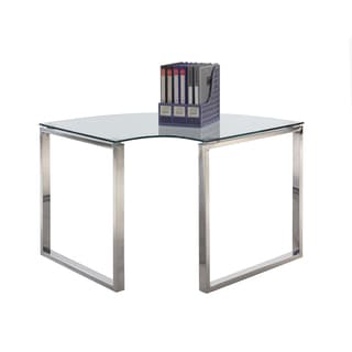 Somette Gloss White Corner Computer Desk