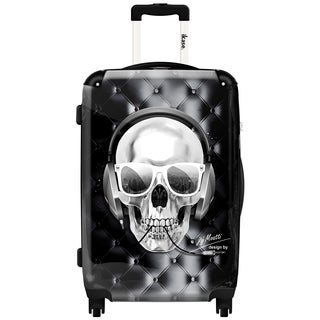iKase Headphones Skull Black 20-inch Hardside Carry On Spinner Upright Suitcase