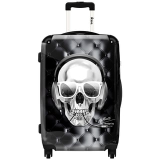 iKase Headphones Skull Black,Carry-on 20-inch,Hardside, Spinner Suitcase