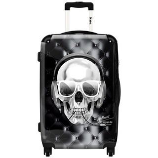 iKase Headphones Skull Black,Carry-on 20-inch,Hardside, Spinner Suitcase