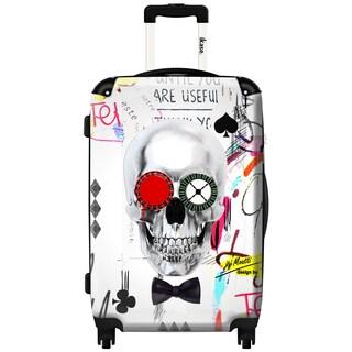 iKase Crazy Skull 20-inch Hardside Carry On Spinner Upright Suitcase