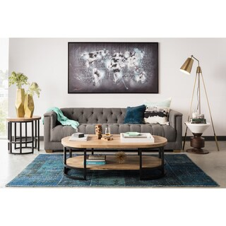 aurelle home belvedere grey tufted sofa - Grey Tufted Sofa