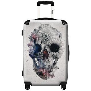 iKase Flower Skull 20-inch Hardside Carry On Spinner Upright Suitcase