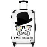 iKase Moustaches 24-inch Hardside Spinner Upright Suitcase