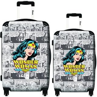 iKase Wonder Woman News 2-piece Hardside Spinner Luggage Set