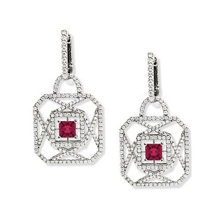 Estie G 18k White Gold Asscher-cut Pink Tourmaline and 2 1/10ct TDW Diamond Earrings (H-I, VS1-VS2)