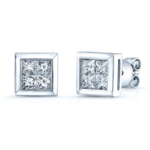 Estie G 14k White Gold 1ct Tdw Princess Cut Invisible Set Diamond Square Earrings